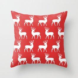 Mid Century Modern Deer Pattern Red Throw Pillow