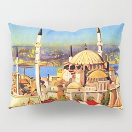 Retro travel poster — Istanbul, Pillow Sham