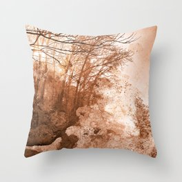 Acrylic Grunge Forest - Sepia Haze Throw Pillow