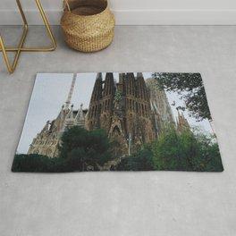La sagrada familia church in Barcelona spain Rug