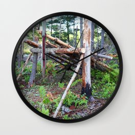 Bushcraft Lean-To Shelter In The Wilderness Wall Clock