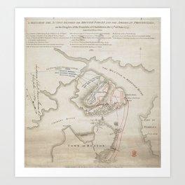 Vintage Battle of Bunker Hill Map (1775) Art Print