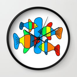 4 Fish - Black lines Wall Clock