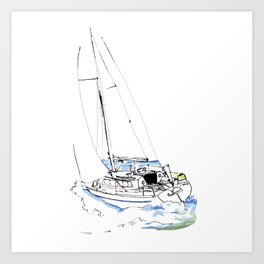 Cirrus/ Sailingboat Art Print