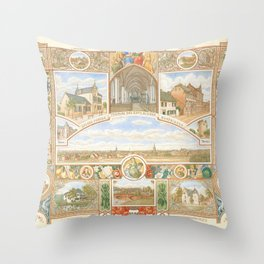Vintage greeting from Opladen Throw Pillow