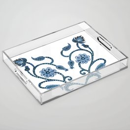 Blue Paisley Heart Acrylic Tray