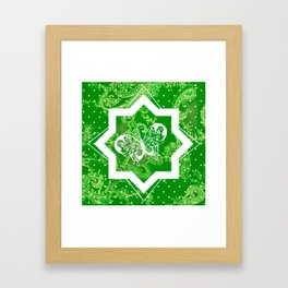 Butterfly on Green Paisley Framed Art Print