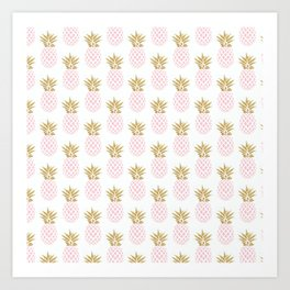 Elegant faux gold pineapple pattern Art Print