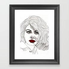 Sophia with Red Lips Framed Art Print