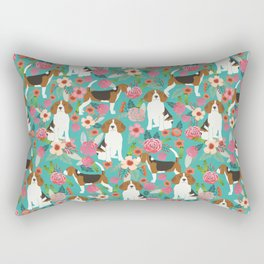 Beagle dog florals dog breed pattern must have cute gifts for pure bred dogs Rectangular Pillow