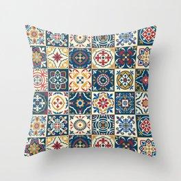 Moroccan Tiles Pattern Multicolor Throw Pillow