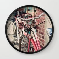 bicycles Wall Clocks featuring Bicycles by Yolanda Méndez