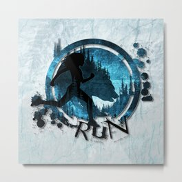 Running With a Bear Metal Print