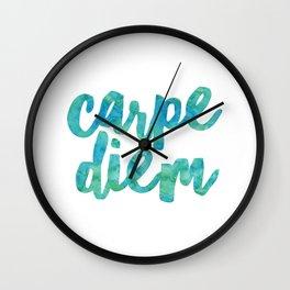 Carpe Diem Watercolor Wall Clock