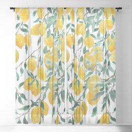 watercoor yellow lemon pattern Sheer Curtain