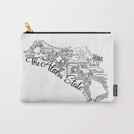 Hawaii - Hand Lettered Map Carry-All Pouch