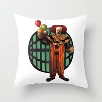 pennywise Throw Pillows featuring Pennywise by Monsterinbox