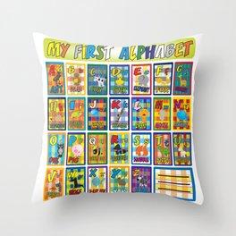 animal alphabet for kids Throw Pillow
