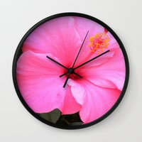 hot pink Wall Clocks featuring Hot pink by Dyneli
