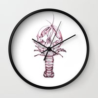 lobster Wall Clocks featuring Lobster by Kathryn Robertson
