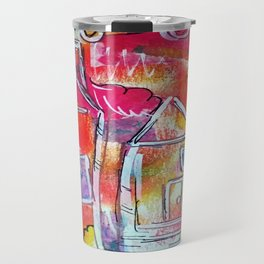 Orange Neon Houses Travel Mug