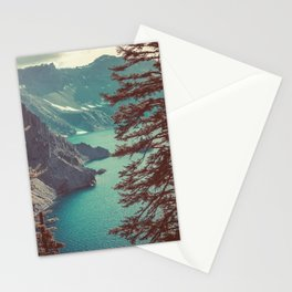 Vintage Blue Crater Lake and Trees - Nature Photography Stationery Cards