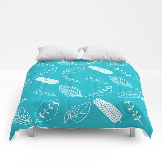 Leaves on turquoise II Comforters