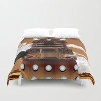 dalek Duvet Covers featuring To Victory! vintage science fiction poster. by Nick's Emporium