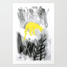 Yellow Panther Art Print