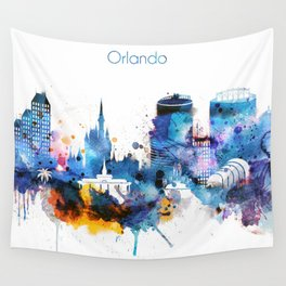 Watercolor Orlando skyline design Wall Tapestry