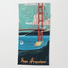 Vintage San Francisco Travel poster Beach Towel