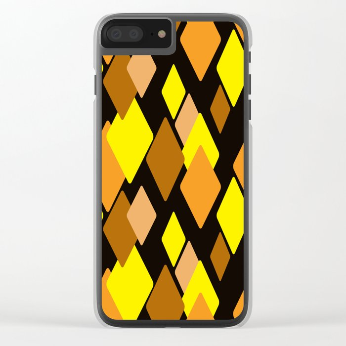 Black and yellow abstract pattern. Diamonds . Clear iPhone Case