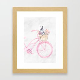 Rabbit and Bicycle Framed Art Print
