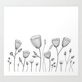 Floral Doodle illustration Art Print