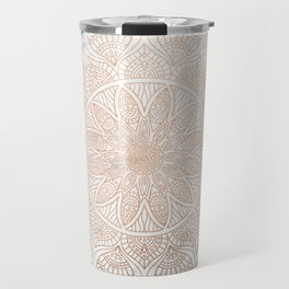 Mandala - rose gold and white marble 4 Travel Mug