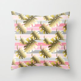 Tropical gold cheese leaves pastel color stripes Throw Pillow