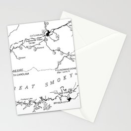 Map of The Great Smoky Mountains National Park (1996) Stationery Cards