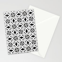 black and white -  Oriental design - orient  pattern - arabic style geometric mosaic Stationery Cards