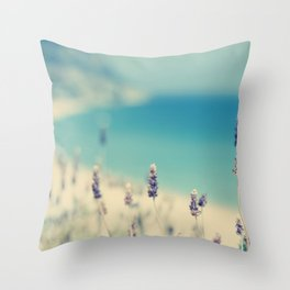 beach - lavender blues Throw Pillow