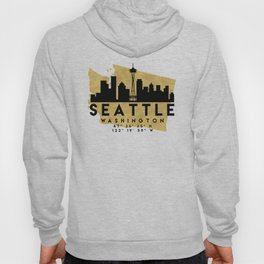 SEATTLE WASHINGTON SILHOUETTE SKYLINE MAP ART Hoody