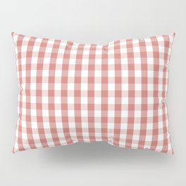 Camellia Pink and White Gingham Check Plaid Pillow Sham
