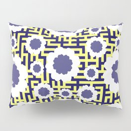 Floral maze in yellow and blue Pillow Sham
