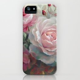 Vintage Oil Painting of Pearl Coor Rose iPhone Case