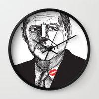 jfk Wall Clocks featuring JFK by Parker Nugent Illustration
