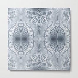 Paris Royal - Watercolor Art Deco Pattern Grey Metal Print