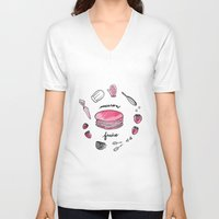 macaron V-neck T-shirts featuring Macaron Fraise by Fashion Doodles
