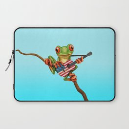 Tree Frog Playing Acoustic Guitar with Flag of The United States Laptop Sleeve