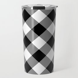 Gingham Plaid Black & White Travel Mug
