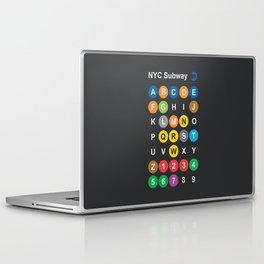 New York City subway alphabet map, NYC, lettering illustration, dark version, usa typography Laptop & iPad Skin