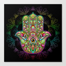 Hamsa Hand Amulet Psychedelic Canvas Print